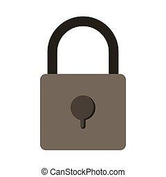silhouette with padlock gray scale vector illustration