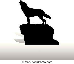 silhouette, wolf, hintergrund, weißes, howls, berg