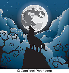 Silhouette Wolf howling at the moon ,Halloween Vector illustration