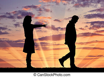 Silhouette woman breaks the relationship with a man -...
