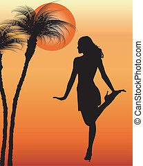 Silhouette woman dande