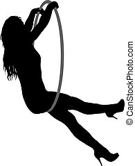 Silhouette woman doing some acrobatic elements aerial hoop on a white background