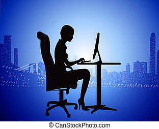 silhouette woman for computer on background of the night city
