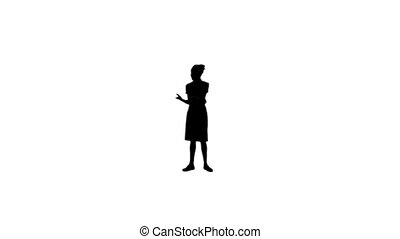 Silhouette woman having a conversation on the phone