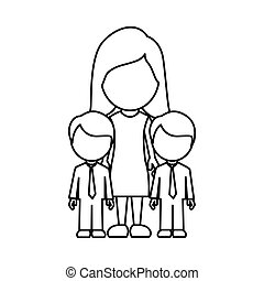 silhouette woman her boys twins icon