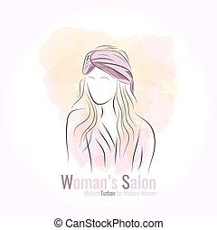 Silhouette woman in a turban