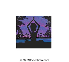 Silhouette woman practicing yoga on the beach at sunset.