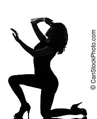 silhouette woman sad despair kneel