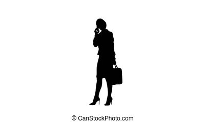 Silhouette woman shouting and argue on the phone. White...