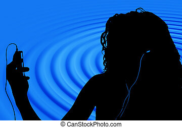 Silhouette Woman - Silhouette in blue and black of teen with...