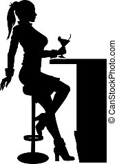 Silhouette woman sitting at a bar