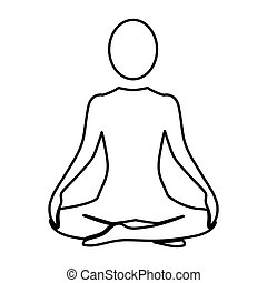Silhouette woman sitting yoga position vector illustration
