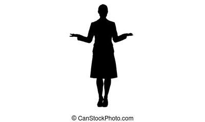 Silhouette woman standing and talking - A silhouette woman...