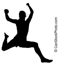 Silhouette Woman - Silhouette Young Woman Jumping