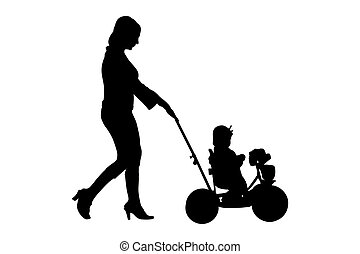 Silhouette woman walking with baby buggy - Silhouette woman...