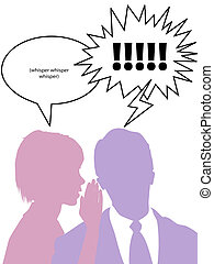 Silhouette woman whispers to tell man gossip secrets - A...