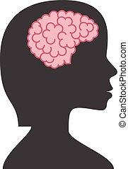 Silhouette woman with brain