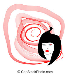 Silhouette woman with spiral on white background