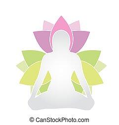 silhouette, womans, lotus pose, sacré, méditation