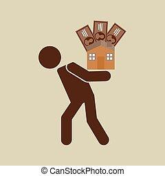 silhouette, woning, geld, financieel, crisis, man