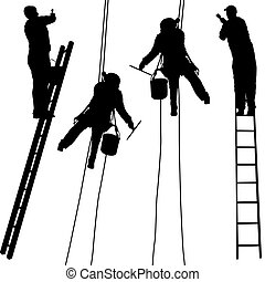 Silhouette worker climbing the ladder on white background