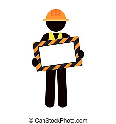 silhouette worker holding site under construction banner