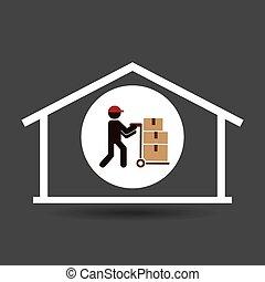 silhouette worker trolley box storage