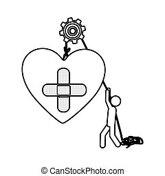 Silhouette worker with pulley holding heart band aid in cross form