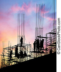silhouette workers on scaffolding steel