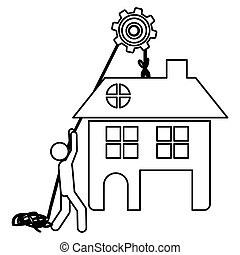Silhouette workers with pulley holding big house with two floors