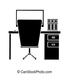 silhouette workplace office space equipment design vector...