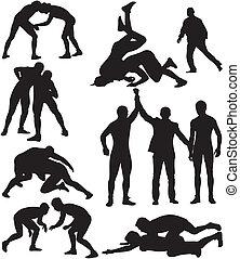 silhouette, wrestling