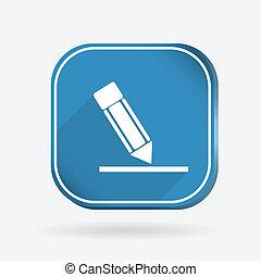 silhouette writing pencil. Color square icon