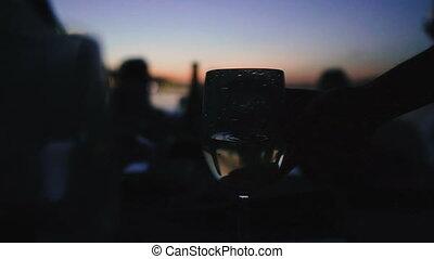 silhouette, yacht, boisson, gens, alcohol., vin.