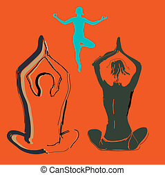 Silhouette yoga couple, a symbol of a healthy lifestyle. Vector illustration.