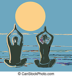 Silhouette yoga couple at sunset on the sea beach. Vector illustration in style of watercolor drawing.