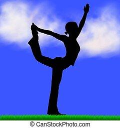 silhouette, yoga, femmina