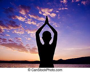 silhouette, yoga, het gebed stelt