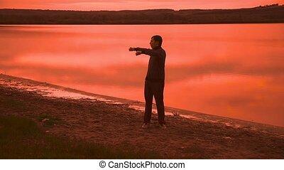 silhouette, yoga, nature, engagé, gymnastique, coucher soleil, sport, rouges, homme