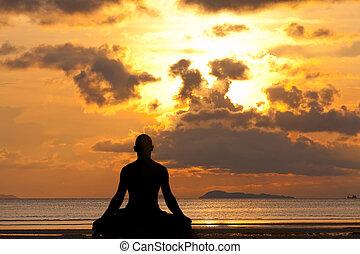 silhouette, yoga, oefening, man