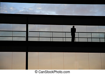 silhouette - young business man in the office building