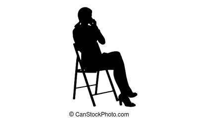 Silhouette Young Business Woman Using Telephone