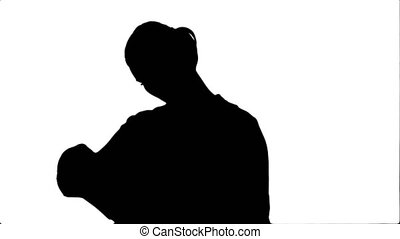 Silhouette Young businesswoman reading documents.