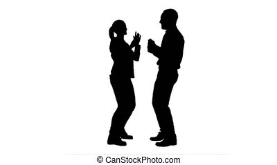 Silhouette Young couple dancing together. 076s. You can use...