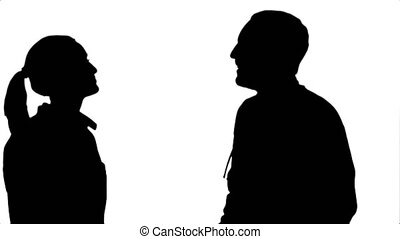Silhouette Young doctor joking on his collegue not give five.