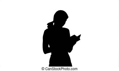 Silhouette Young girl with book on laptop