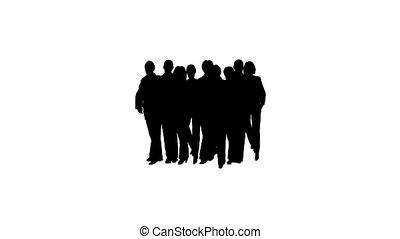 silhouette, zakelijk, disband, mensen