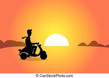 silhouette, zakelijk, op, scooter, elektrisch, ondergaande zon , rijden, man