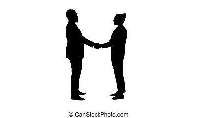 silhouette, zakenlui, schudden, ontmoeten, hands.