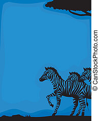 silhouette, zebra, fond